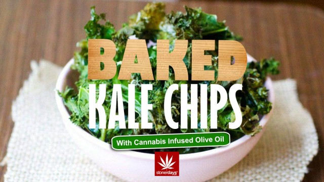 Baked Kale Chips; Stoner Cookbook